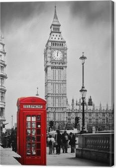 Canvas Rode telefooncel en de Big Ben in Londen, Engeland, het Verenigd Koninkrijk