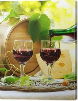Canvas Rode wijn en kaas. Romantisch Lunch Outdoor.