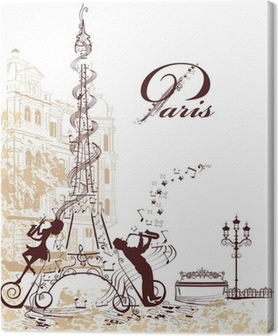 Canvas Romantische Eiffeltoren versiert met notenbalk