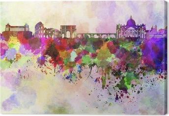 Canvas Rome skyline in aquarel achtergrond