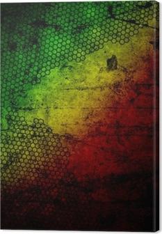 Canvas Rood, geel, groen rasta vlag op grunge geweven betonnen muur