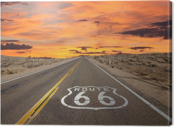 Canvas Route 66 Pavement Log Sunrise Mojavewoestijn - Thema's