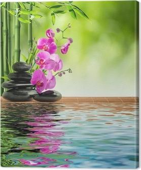 Canvas Roze orchidee zwarte stenen en bamboe op het water