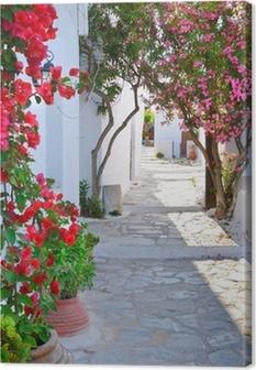 Canvas Rustige straat terug in klein traditioneel Grieks dorp