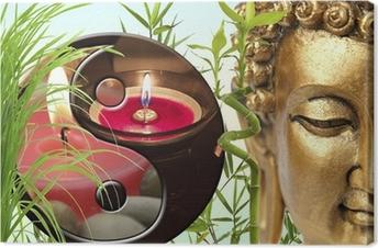 Canvas Samenstelling zen, Bouddha, yin yang, bambou