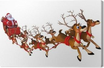 Canvas Santa met slee