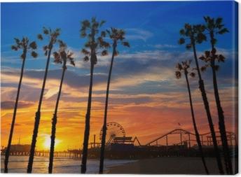 Canvas Santa Monica California zonsondergang op Pijler Ferry wiel