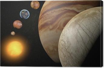Canvas Satelliet-Europa, maan van Jupiter, ruimte zonnestelsel