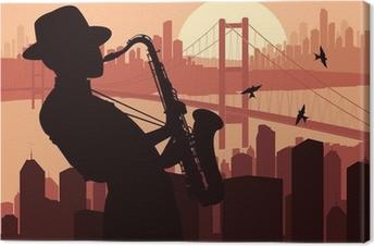 Canvas Saxofonist achtergrond illustratie