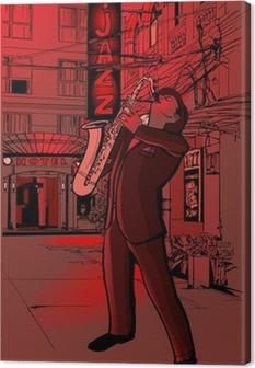 Canvas Saxofonist in een straat 's nachts