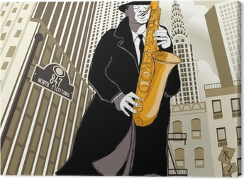 Canvas Saxofonist in een straat