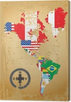 Canvas Schets kaarten van de landen in Noord-en Zuid-Amerika