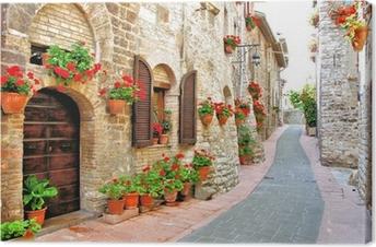 Canvas Schilderachtige laan met bloemen in een Italiaanse heuvel stad