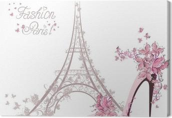 Canvas Schoenen met hoge hakken op de achtergrond van de Eiffeltoren. Paris Fashion