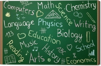 Canvas Schoolvakken en krabbels op bord