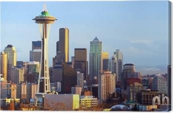 Canvas Seattle skyline panorama bij zonsondergang, WA, USA
