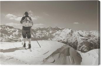Canvas Sepia Vintage skiër met houten skis