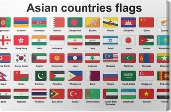 Canvas Set van de Aziatische landen vlaggen pictogrammen met afgeronde hoeken