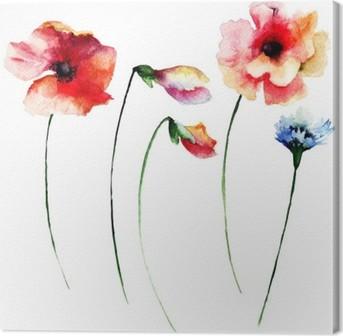 Canvas Set van de zomer waterverfbloemen