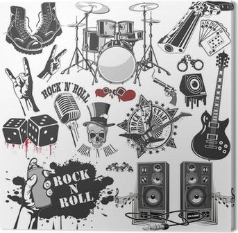 Canvas Set van vector symbolen die verband houden met rock and roll