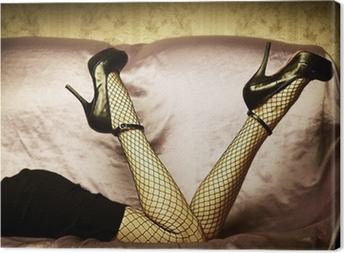 Canvas Sexy vrouwelijke benen in de schoenen