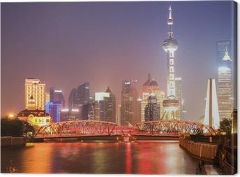 Canvas Shanghai tuin brug bij nacht