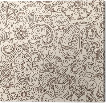 Canvas Sierlijke Henna Paisley Patroon Doodle Vector Design