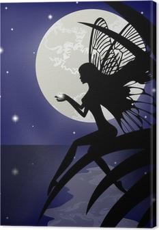 Canvas Silhouet fairy meisje met een ster