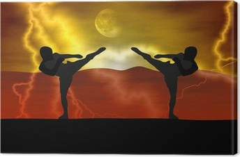 Canvas Silhouet illustratie - Martial art
