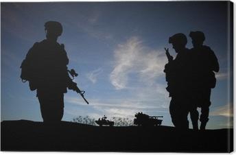 Canvas Silhouet van de moderne soldaten met militaire voertuigen