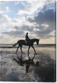 Canvas Silhouet van een Ruiter van het Paard op Strand