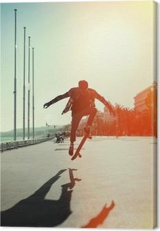 Canvas Silhouet van skateboarder