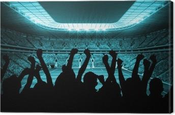 Canvas Silhouetten van voetbalsupporters