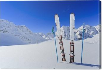 Canvas Ski, winter, bergen en ski-uitrusting