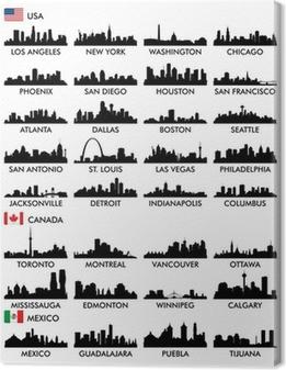 Canvas Skyline van de stad Noord-Amerika