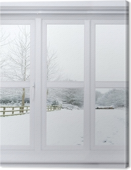 Canvas Sneeuw Scene Window