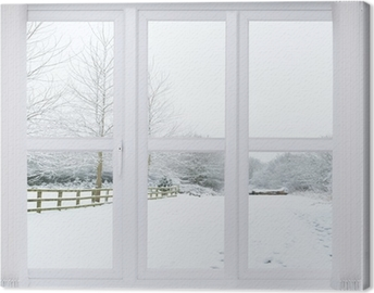 Canvas Sneeuw Scene Window