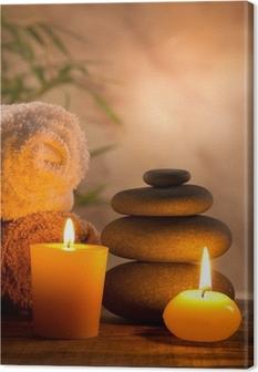 Canvas Spa stilleven met aromatische kaarsen