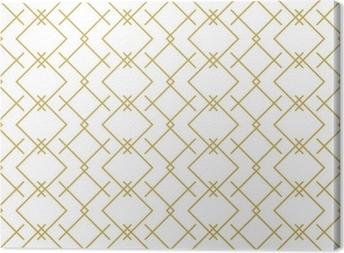 Canvas Stijlvolle lineaire geometrische naadloze vector patroon in goud
