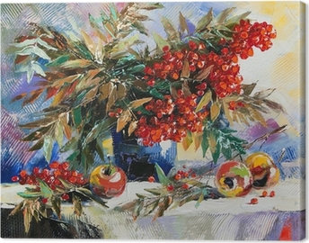 Canvas Stilleven met een berg as en appels