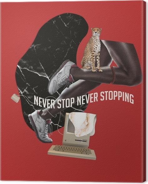 Canvas Stop nooit. Geef nooit op. -
