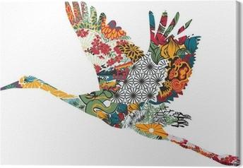Canvas Stork in het Japans ornament
