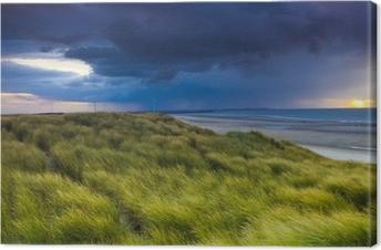 Canvas Stormclouds over de duinen van Zeeland in Nederland