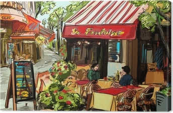 Canvas Straat in Parijs - illustratie