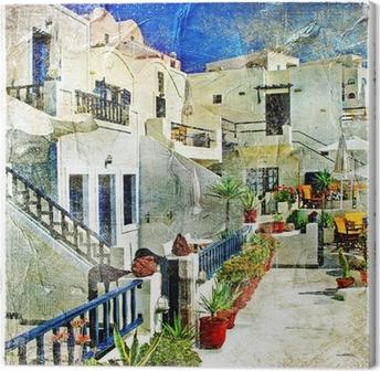 Canvas Straten van Santorini - illustraties in stijl schilderen