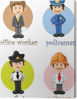 Canvas Stripfiguren van verschillende beroepen