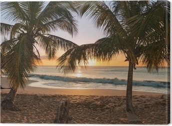 Canvas Sunset beach palmbomen golven