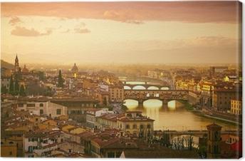 Canvas Sunset uitzicht op de brug Ponte Vecchio. Florence, Italië