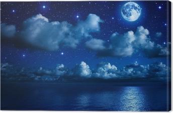 Canvas Super maan in sterrenhemel met wolken en zee