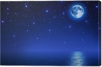 Canvas Super maan in sterrenhemel op zee